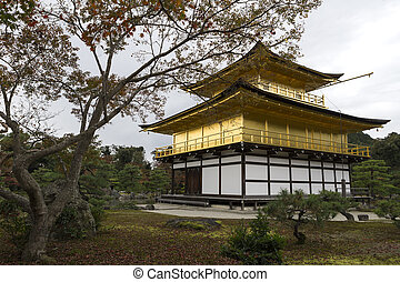 The Golden Pavilion at Kinkakuji (also Kinkaku-ji or Rokuon-ji) temple
