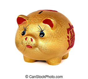 The Golden Pig piggy bank on white background.