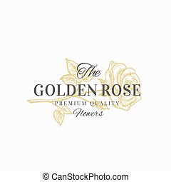 The Golden Rose Premium Quality Flowers. Abstract Vector...