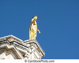 Golden statue of Saint Mary of the Angels
