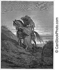 The Good Samaritan - Picture from The Holy Scriptures, Old and New Testaments books collection published in 1885, Stuttgart-Germany.