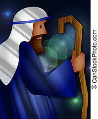 The Good Shepherd - Textured digital illustration of a...