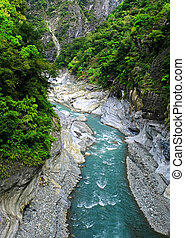 The gorge in the mountains, with a rapid stream flowing in it a mountain stream