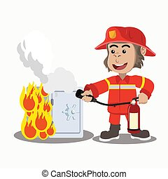 the gorilla fire extinguisher put out the burning safe