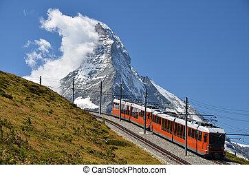 The Gornergratbahn is a 9 km long gauge mountain rack...