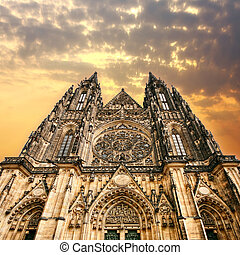 The Gothic cathedral in Prague