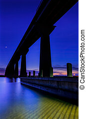 The Governor Thomas Johnson Bridge over the Patuxent River at twilight, Solomons Island, Maryland