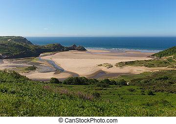 The Gower Three Cliffs Bay Wales uk