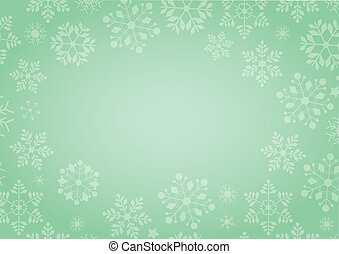 Gradient green winter background with snowflake border