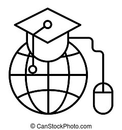The graduation cap and globe thin line icon. Home study vector illustration isolated on white. Education outline style design, designed for web and app. Eps 10.