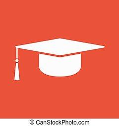 The graduation cap icon. Education symbol. Flat Vector ...