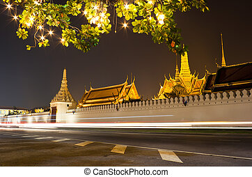 The Grand palace at night in Bangkok
