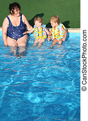 The grandmother and children sit at pool.