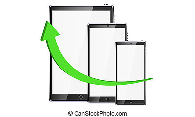 The graph is growing up in the form of a green volume arrow on the background of smart tablets of modern touch digital smartphones with large screens of mobile devices. Vector illustration