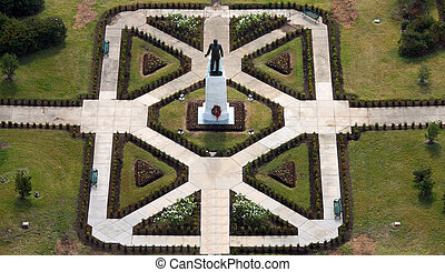 The grave site and statue of Huey P Long, former Governor of...
