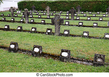 The graves of members of St. Joseph Congregation on the cemetery in Ursberg, Germany