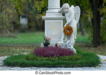 The gravestone of Wolfgang Amadeus Mozart in St. Marx ...