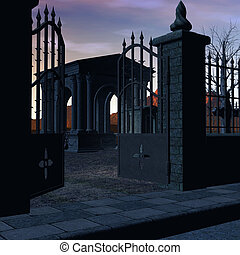 Gated graveyard at sunset with headstones, burals, mausoleum, paved street