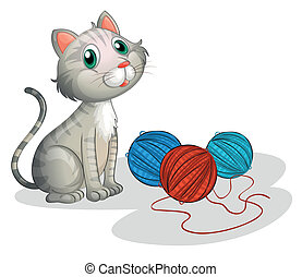 The gray cat with toys