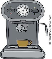 The gray electric espresso maker