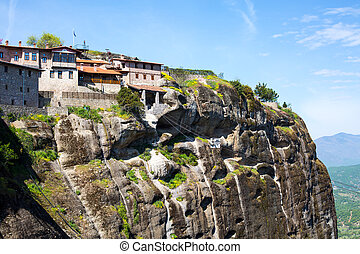 The Great Meteoro Monastery in Meteora and cable car, Greece...
