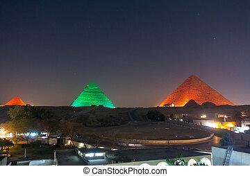 The Great pyramid at night
