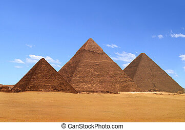 The Great Pyramids in Giza Cairo Egypt - A view of the...