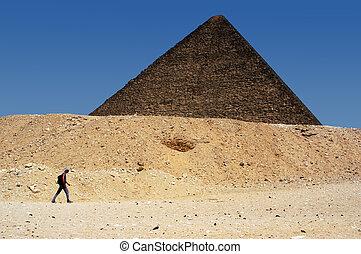 The Great Pyramids in Giza - GIZA - APRIL 27: A man walk...