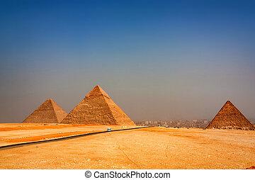 The Great Pyramids towering beyond Giza city - Beautiful...