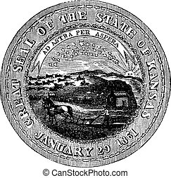The Great Seal of the State of Kansas vintage engraving