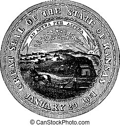 The Great Seal of the State of Kansas vintage engraving> old engraved illustration of the state seal of kansas.