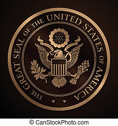Highly detailed vector design of a monochromatic embossed, gold official Great Seal of the United States. EPS 10 with a 25 Mpxl, Q12 JPEG preview.