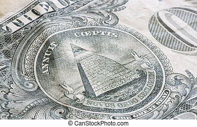 The Great Seal on the US One Dollar Bill Close up.