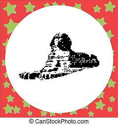 The Great Sphinx in Giza, Egypt vector illustration isolated on round white background with stars