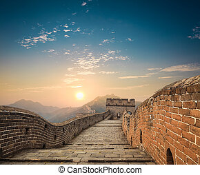 the great wall at dusk - China great wall in sunset