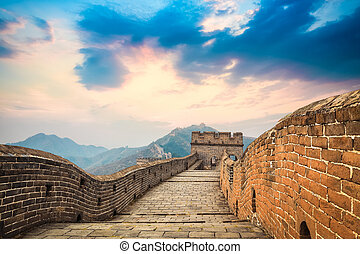 the great wall at dusk - China the great wall in a beautiful...