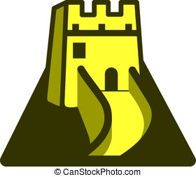 The Great Wall, China, landmark flat icon design - The Great...