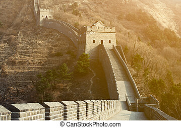 The Great Wall of China At Sunset. Longest Man-Made Structure in the World