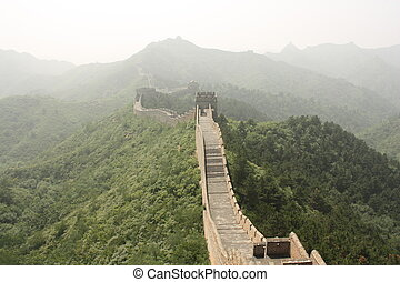 The Great Wall of China in a haze