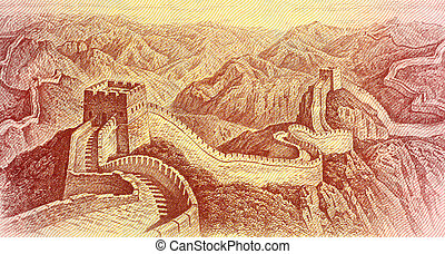 The Great Wall of China - The Great Wall on 1 Yuan 1980...