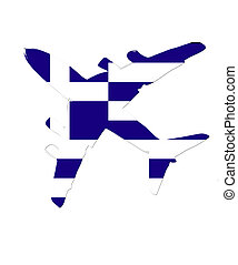 The Greece flag painted on the silhouette of a aircraft. glossy illustration