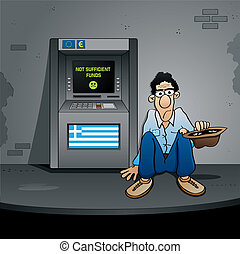 The Greek Bankruptcy - a beggar is sitting in front of an ...