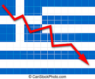 The Greek flag and arrow graph going down