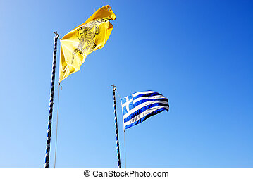 The Greek Flag and Flag of Varlaam monastery, Meteora,...