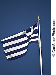 The Greek national flag at the top