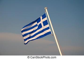 Greek national flag - The Greek national flag flying from...