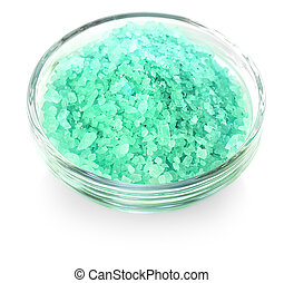 The green bath salt isolated on white background