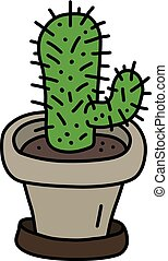 The green cactus in a flowerpot