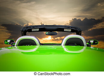 The green car with sunset