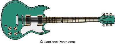 The green electric guitar